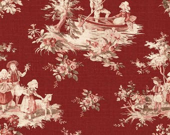 Toile de Jouy Pastoral Scenes Cotton Quilt Fabric Riley Blake Red BFab