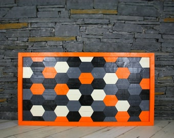 Modern wooden wall art in orange white black and grey geometric design decor handmade wall mounted wood custom made to order stripe framed