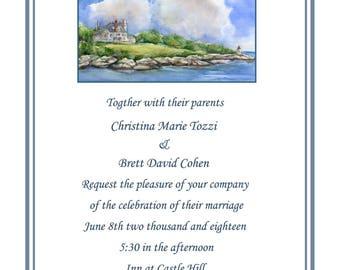 Inn at Castle Hill invitations-  Newport Rhode Island wedding invitations- Inn at castle hill rehearsal dinner invitations- newport RI