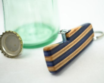 Recycled Skateboard Bottle Opener Keychain / Layered