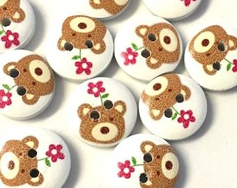 10 x 15mm teddy bear buttons, bear picture buttons, cute buttons, 15mm round buttons, baby knit buttons, craft buttons, animal buttons