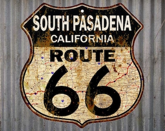 South Pasadena, California Route 66 Vintage Look Rustic 12X12 Metal Shield Sign S122093