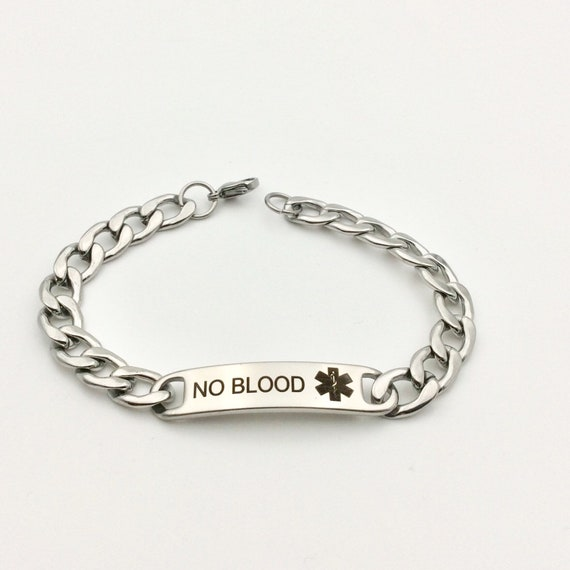 """Stainless Steel """"No Blood"""" Chain Bracelet with Blue Monkey Gift Bag"""