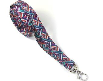 MODERN fabric lanyard, Skinny badge holder, Skinny lanyard, Blue pink lanyard, Lines lanyard, Thin badge holder, Thin lanyard