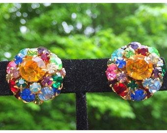 Rainbow Colored Rhinestone Cluster Clip on Earrings, Beautiful Sparkling Rhinestone Cluster Earrings