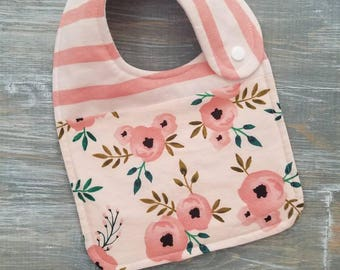 NEW item: Infant Drool Bib- Two Tone Pink Floral Stripe