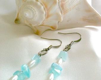 Blue and White Beaded Dangle Earrings Handmade