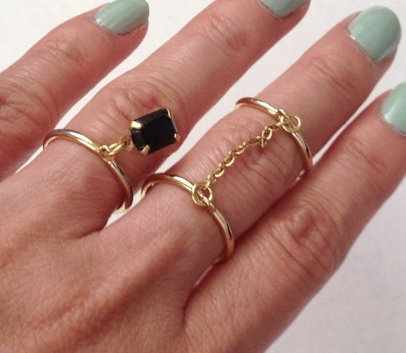 Chain Linked Double Ring Double finger ring Chain Ring Gold