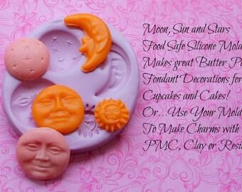 Silicone Moon Mold Moon Face Sun Stars Mold Galaxy Chocolate Moon Mold Fondant Mold Polymer Clay Soap Wax Moulds