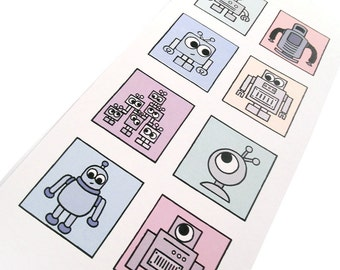 Cute Robot Card (colours) - blank inside - tall card with 8 squares of curious cartoon robots, geeky card design by Kim Onyskiw