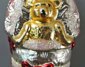 "Glass 639 Ornament Bear in Crib Inge Glas W Germany 4"" Vintage 1980's Old World"