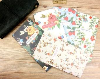 Vintage floral Midori,MTN,Fauxdori Kraft Refill (3) ,Personal size, Travelers notebook inserts, journal notes, Kraft paper notebook