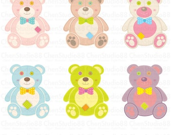 Sewing bear vector - Digital Clipart - Instant Download - EPS, Pdf and PNG files included