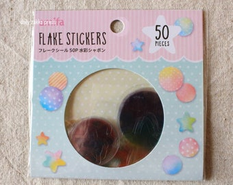 Star and Circle Sticker Flakes - 12 designs - 50 pieces - snail mail, journaling, scrapbooking - 4485