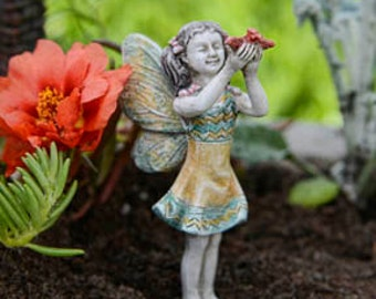 "Fairy Madilyn (3"" Tall) with her Red Bird in her Fairy Garden"
