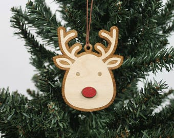 Rudolph Ornament | Wood Ornament | Holiday Decoration | Holiday Ornament | Christmas Ornament | Home Decor | Reindeer | Made in Maine