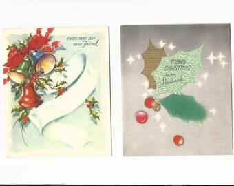 Vintage Christmas Cards Dear Friend and Husband Set of 2 Cards, Ephemera, Scrapbooking