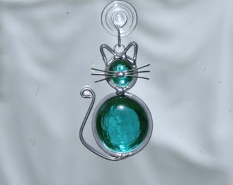 Stained Glass Teal Cat Ornament, Suncatcher