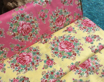 Sugar Bouquet ~ 2 colors ~ Sugar Bloom Collection ~ Verna Mosquera for Free Spirit Fabrics Collection Cotton