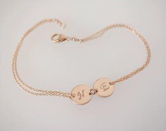 Rose gold bracelet, name bracelet, initial disc bracelet, dainty bracelet, monogram jewelry, bridesmaid gift, friendship bracelet