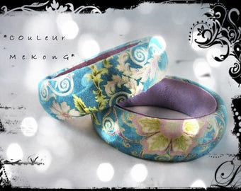 SOLD - set of 2 bracelets color MEKONG fabric multicolored predominantly teal and Eastern spirit - mauve, purple leather,