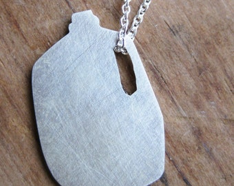 funny MILK JUG sterling silver silhouette necklace