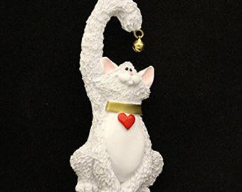 White Personalized Cat Christmas Ornament, Ornament,  Personalized, Cat Ornament, Cat, White Cat,