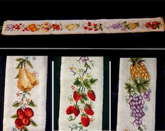 Vintage needlepoint wall hanging-gorgeous large handmade needle point fruits flowers-french country