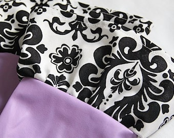 Fancy Ruffled Rubber Gloves - Cleaning Gloves - Dishwashing Gloves, Purple and White on Black Damask Scroll