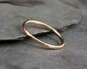 14k Gold Fill Stacking Ring, Stackable Hammered Spacer Ring Band, Handmade 14 Karat Gold Filled Single Stack Solitare Spacer Engagement Band