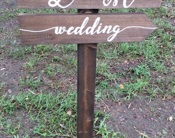 Wedding directional sign, wedding arrow sign with couple's initials