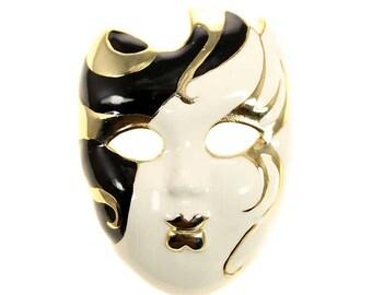 Mask Brooch, Gold Rhinestone Mask Broach, Crystal Mardi Gras Jewelry Component, DIY Craft Project Embellishment
