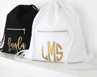 Drawstring Bag - Monogram Custom Name/Saying Drawstring Backpack, Drawstring Bag, Monogram Backpack, Personalized Custom Bag