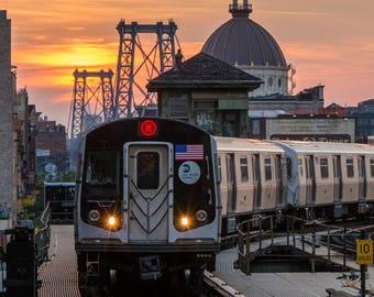New York Skyline and the Williamsburg Bridge from Brooklyn - M Train Subway - MTA at Sunset - New York City Photography