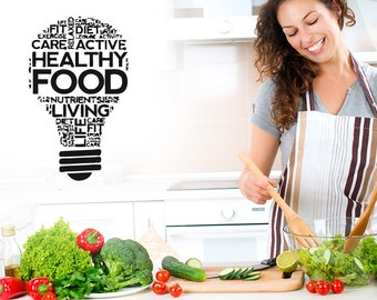 Wall Decal Room Sticker healthy organic healthy style food life diet bulb bo3054