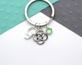 Personalized Celtic Knot, Scottish Symbol Keychain, Scottish Custom Keyring, Sassenach Personalised Swarovski Birthstone & Initial Gift