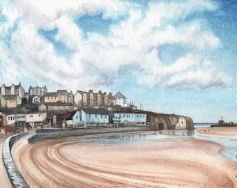 Perranporth plage en peinture aquarelle, ORIGINAL, heureux Qu'anglais été mémoire, par David Platt, livraison gratuite