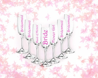 DIY champagne flute decal, bridesmaids and wedding parties, set of 5
