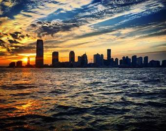 Sunset over the Jersey City Skyline Photograph Print, New Jersey, Cityscape, Waterfront, Photography, Home Decor, Print Art, Wall Art