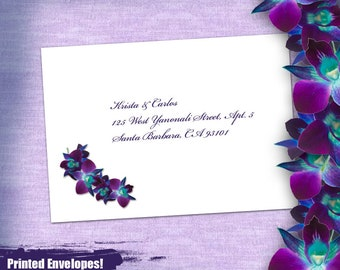 K&C Custom Purple Orchid Beach Printed Respond and Thank You Envelopes: 60 Printed envelopes, Beach Invite, Purple Orchid Beach