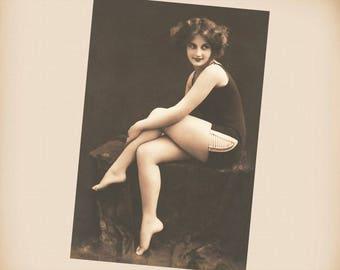 Edwardian Bathing Beauty New 4x6 Vintage Postcard Image Photo Print BB32