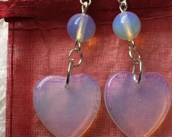 Earrings moonstone hearts