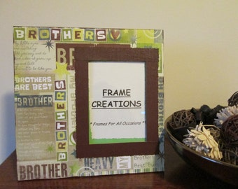 5x7 Brothers Themed - Hand Decorated Picture Frame
