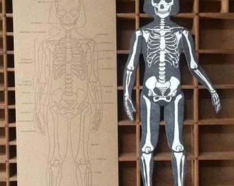 letterpress Skeleton articulated figure