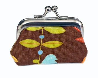 Spring Leaves And Flowers - Brown Version - Tiny Kisslock Metal Frame Coin Purse