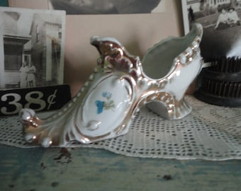 Pretty porcelain shoe with gold accents Made in Germany