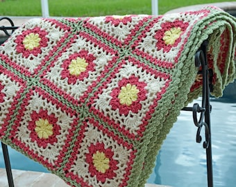 Handmade crochet blanket - large floral granny squares - Ready to ship!