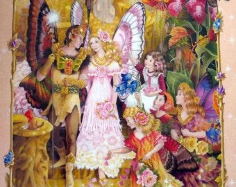 Vintage flower fairy illustration, book page, book print, A Fairyland Wedding