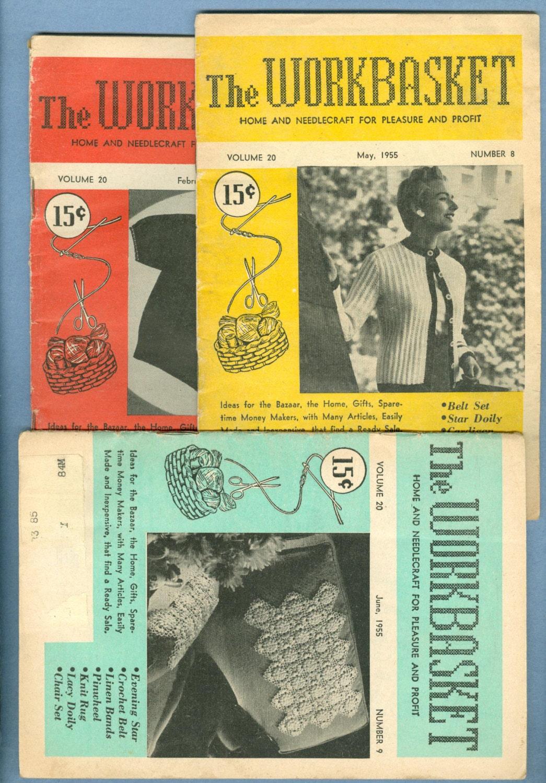 1955 The Workbasket Magazine, 3 Issues: Feb 1955, May 1955, Jun 1955 ...