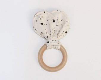 "3"" Cream, Black & Gold Wooden Bunny Ear Teething Ring Toy // by Elle Lee and Me"